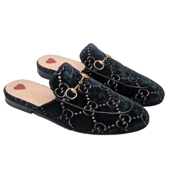 96e51dc8b52 Gucci Shoes - Gucci Velvet Blue Princetown Mules